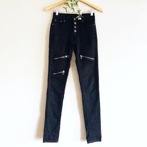 LF Carmar Black Skinny Zipper Detail Stretch Jeans